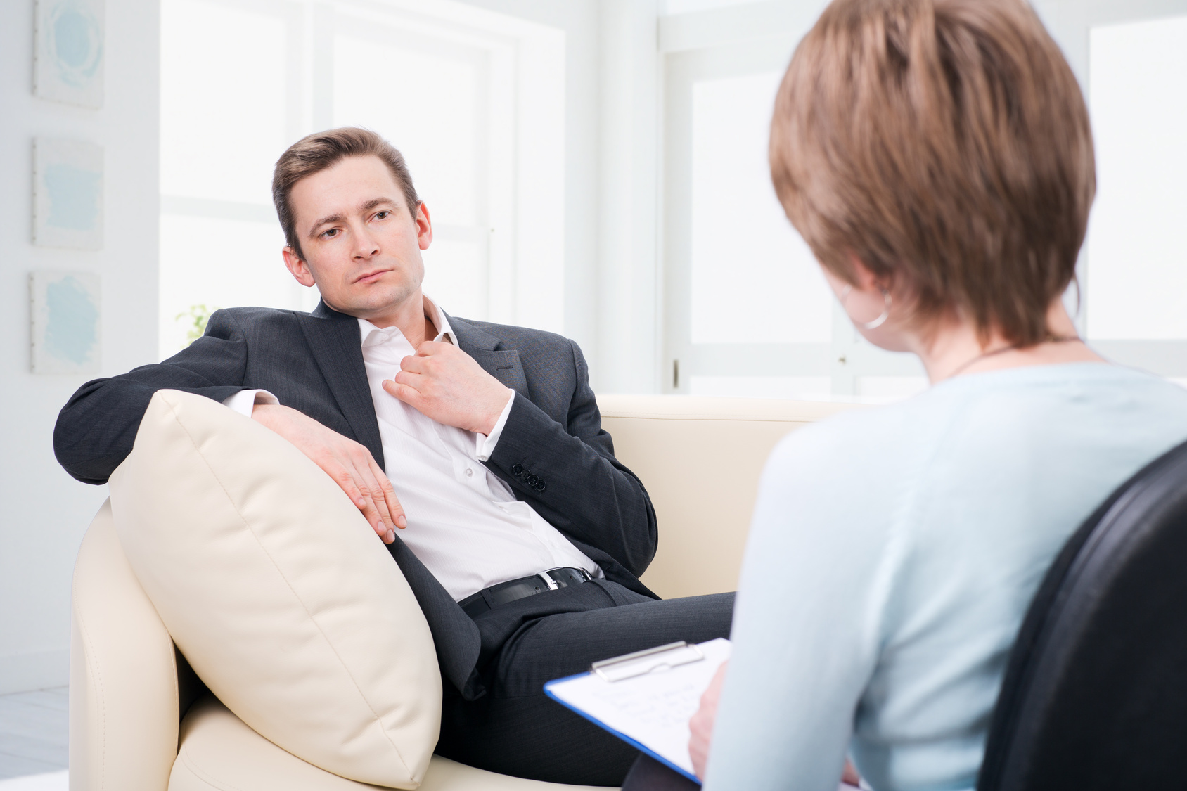 depressed talking with psychologist